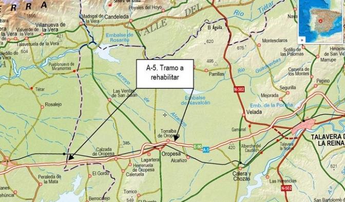 Fomento licita una obra para la rehabilitación del firme de la autovía A-5, en Toledo