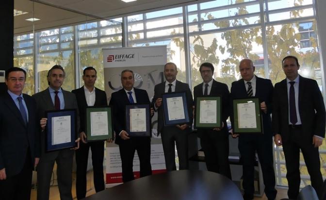 Eiffage Energía recibe cuatro nuevos certificados otorgados por AENOR