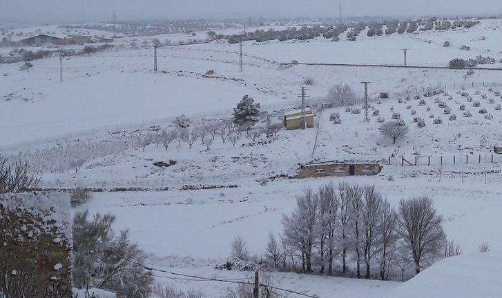 La nieve llegó a muchos puntos de Castilla-La Mancha con mucha intensidad. La imagen corresponde a la provincia de Albacete