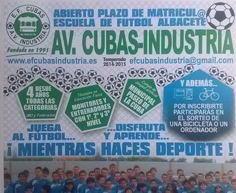 La Escuela de Fútbol AV Cubas-Industria abre el plazo de matrícula para la temporada 2014-15
