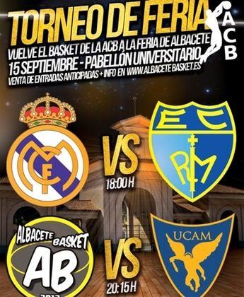 Real Madrid, Estudiantes, UCAM Murcia y Albacete Basket, en el Torneo de Feria de baloncesto el 15 de septiembre