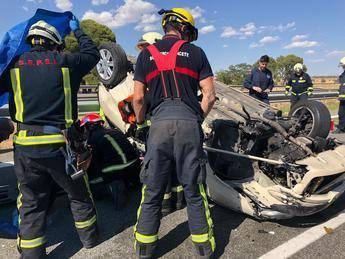 Cuatro heridos, dos de ellos menores, en un accidente en la autovía A-31, en Hoya Gonzalo (Albacete)