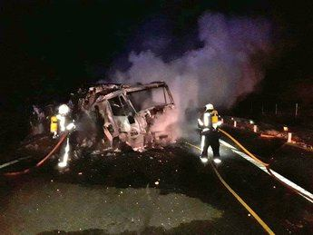 El accidente de un camión y su posterior incendio provocó el corte la autovía A-30 en Chinchilla, sentido Albacete