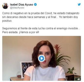 La presidenta de la Comunidad de Madrid, Ayuso, da positivo por coronavirus, y Pedro Sánchez negativo