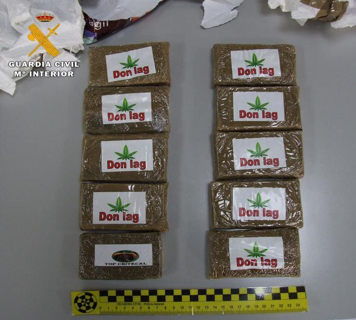 Detenido un hombre en Almansa por recibir un paquete con 1.000 gramos de hachís