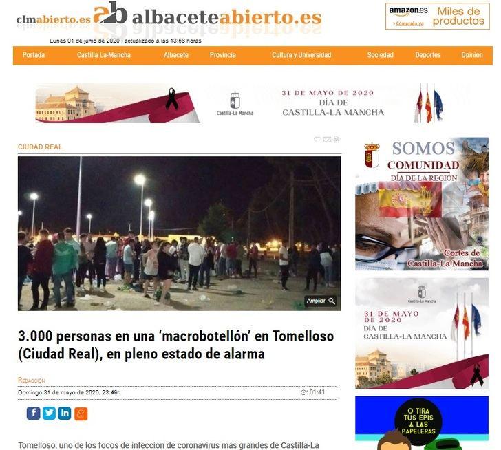 La Junta 'condena' el botellón de Tomelloso y pide al delegado del Gobierno y a los ayuntamientos que extremen la vigilancia