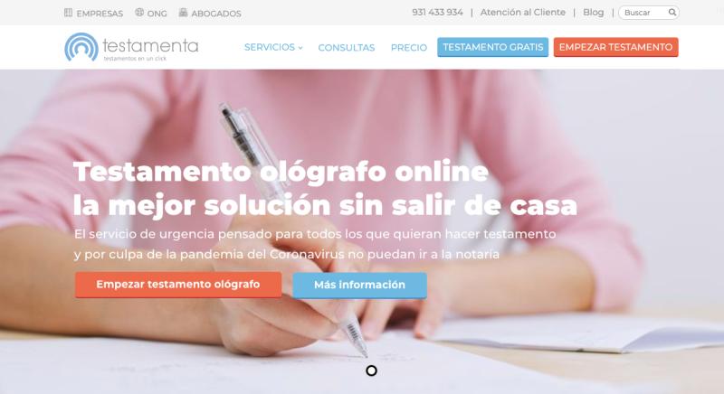 Testamenta lanza un servicio online para redactar testamento ológrafo compatible con el estado de alarma