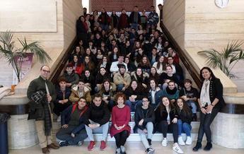 Visita al Ayuntamiento de Albacete de los alumnos de intercambio del IES Federico García Lorca y de los institutos de Francia e Italia