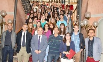 Alumnos de Alemania visitan el Palacio de la Diputación, dentro de un programa de intercambio con el IES Andrés de Vandelvira