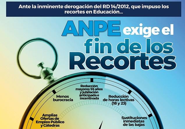 La asociación de profesores, Anpe, lanza campaña en defensa de enseñanza pública y para revertir recortes
