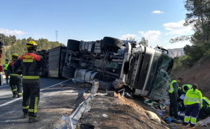 Imagen del accidente ocurrido en Minglanilla (Cuenca)