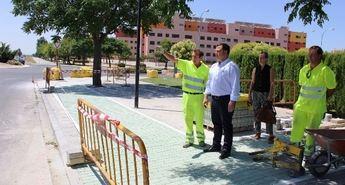 Imagen de archivo de la construcción del carril bici en la entrada por la carretera de Murcia