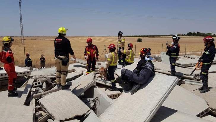Bomberos de toda España participan en un curso de rescate en estructuras colapsadas, en el Parque del SEPEI de La Roda (Albacete)