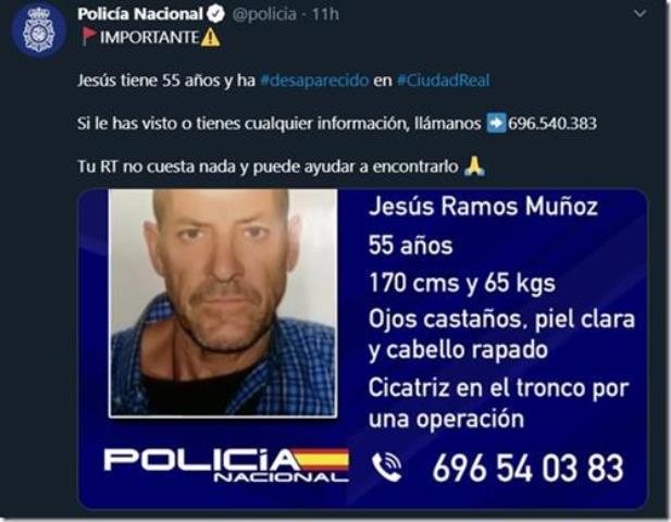 La Policía investiga la extraña desaparición de José Ramos Muñoz, un hombre de 55 años, en Ciudad Real desde hace un mes y medio