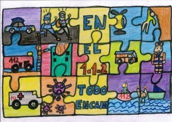Un alumno del colegio 'Alarcos' de Valverde (Ciudad Real) gana la IX edición del Concurso de Dibujo Escolar sobre el 112