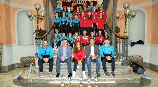 Recepción en la Diputación de Albacete a las gimnastas que sumaron varias medallas en el Nacional de Trampolín
