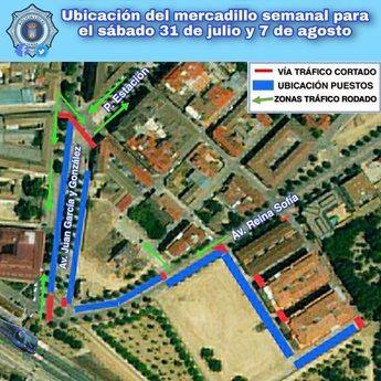 El mercadillo de La Roda cambiará de ubicación este sábado y el siguiente por la instalación de las atracciones de feria