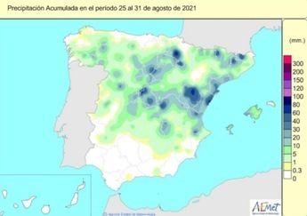 El este de Castilla-La Mancha presenta precipitaciones por encima de sus valores normales hasta el 31 de agosto