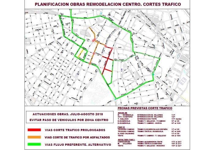 Información detallada de los cortes de calles del final de la primera fase de la peatonalización del centro de Albacete