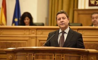 El presidente regional este martes en las Cortes de Castilla-La Mancha.