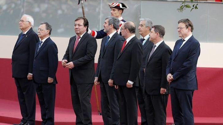 Page y otros presidentes autonómicos en los actos de hoy en Madrid.