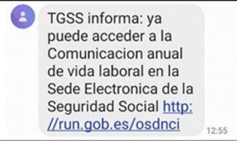 Este es el aviso de la TGSS que se recibe en los móviles y es absolutamente seguro